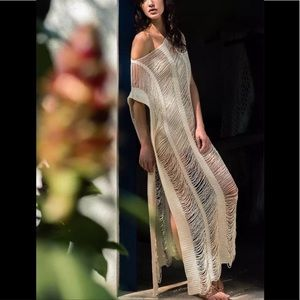 Lux Thred Shea Maxi Dress And Coverup In Bone